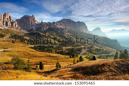 Italy Dolomites moutnain at sunrise - Road to passo gardena #153095465