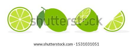Vector lime slice green illustration lemon isolated half fruit lime. Fresh green cut citrus icon. #1531031051