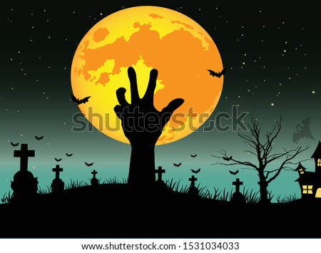 Halloween background concept, zombie hand rising out from the ground in the dark night with full moon. vector illustration. #1531034033