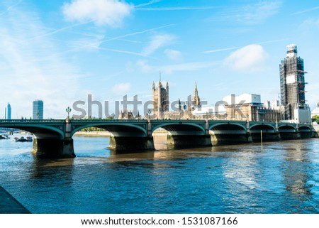 Big Ben and Westminster Bridge with River Thames in London, UK #1531087166