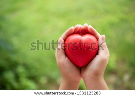 Two hands of child holding a red of rubber heart with green grass background. Showed the coordination, collaboration of business or requires sacrifice, attention, unity, charity, care or love of human #1531123283