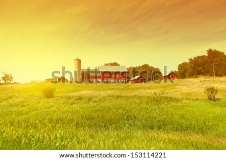 Traditional American Red Farm in Summer #153114221