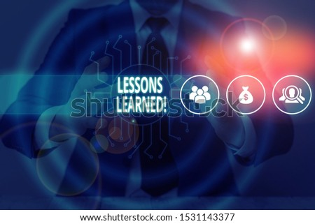 Text sign showing Lessons Learned. Conceptual photo experiences distilled project that should actively taken Male human wear formal work suit presenting presentation using smart device. #1531143377