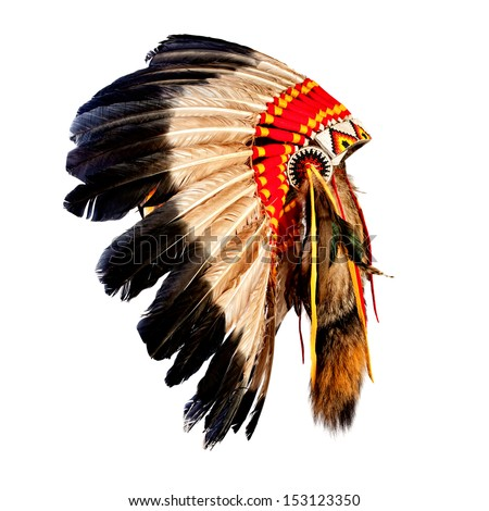 native american indian chief headdress (indian chief mascot, indian tribal headdress, indian headdress) Royalty-Free Stock Photo #153123350