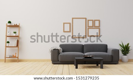 Interior poster mock up living room with colorful white sofa . 3D rendering.  #1531279235