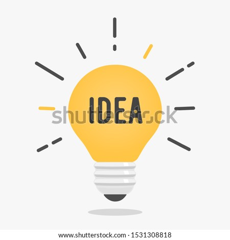 Abstract vector flat design lightbulb idea icon #1531308818