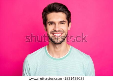 Close up photo of brunette amazing macho guy revealing perfect white teeth wear casual t-shirt isolated vibrant pink color background #1531438028