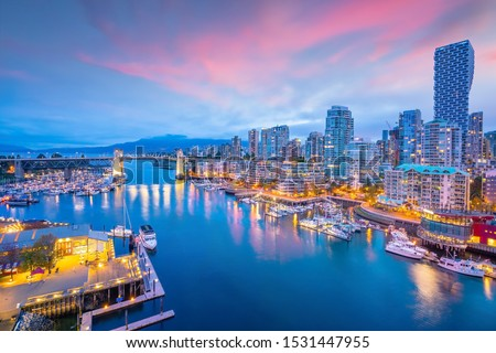 Beautiful view of downtown Vancouver skyline, British Columbia, Canada at sunset Royalty-Free Stock Photo #1531447955