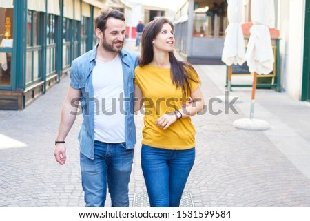 Romance time.Smiling couple in love outdoors #1531599584