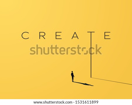Creativity vector concept with creative typography and design with businessman looking to grow, climb up. Symbol of creative solutions, innovation, inspiration, new ideas. Eps10 illustration. Royalty-Free Stock Photo #1531611899