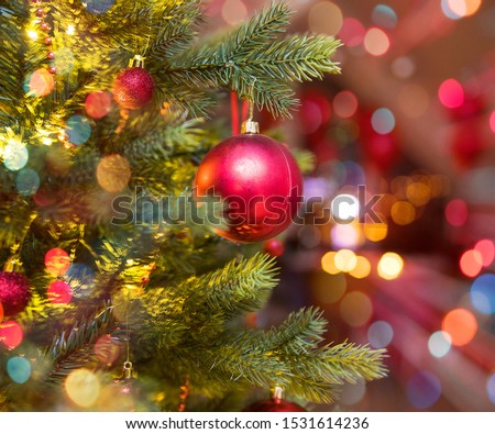 beautifully decorated Christmas tree with bright balls #1531614236