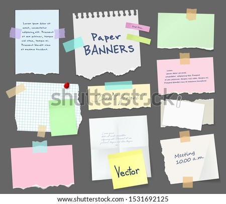 Paper sheets of notebook and note pad with torn edges stick on grey background with tape and paperclip. Vector pages with copy space for messages and notes, office and school stationery, memo stickers #1531692125