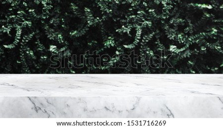 marble texture table and green leaf wall product display background.3d perspective studio photography stand.banner mokc up space for showcase product.empty countertop.ecology friendly concept