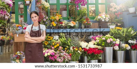 Startup successful sme small business entrepreneur owner asian woman standing with flowers at florist shop. Portrait of caucasian girl successful owner environment friendly concept banner #1531733987