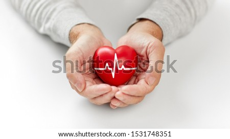 health, charity and people concept - close up of senior man holding red heart with ecg line in hands #1531748351