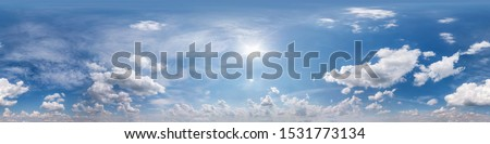 Seamless cloudy blue sky hdri panorama 360 degrees angle view with zenith and beautiful clouds for use in 3d graphics or game development as sky dome or edit drone shot #1531773134