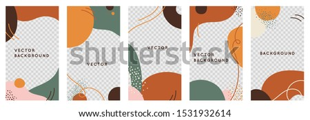 Vector set of abstract creative backgrounds in minimal trendy style with copy space for text and photo - design templates for social media stories and bloggers - simple, stylish and minimal designs fo Royalty-Free Stock Photo #1531932614