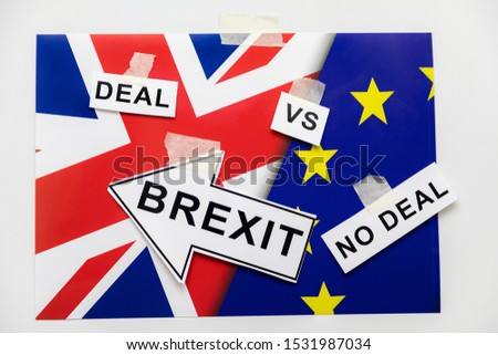 Brexit or Not to Brexit Deal or No Deal. Brexit Flags of European Union and Great Britain with Question Mark about Deal or NO Deal, UK VS EU Concept Ideas #1531987034
