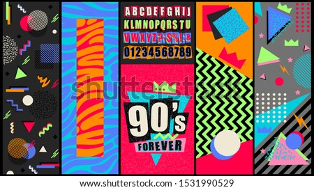90s and 80s poster. Nineties forever. Retro style textures and alphabet mix. Aesthetic fashion background and eighties graphic. Pop and rock music party event template. Vintage vector poster, banner. #1531990529