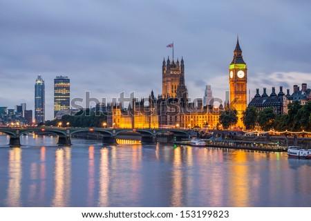 Big Ben and Westminster Bridge at dusk, London, UK Royalty-Free Stock Photo #153199823