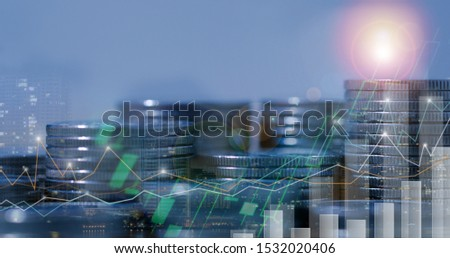Financial investment concept, Double exposure of city night and stack of coins for finance investor, Forex trading candlestick chart, Cryptocurrency  Digital economy. #1532020406