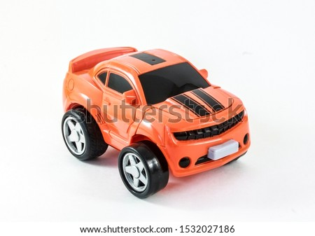 Toy car  suv yellow car for kid children on white background