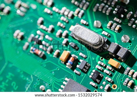 Electronic components on printed circuit board. #1532029574