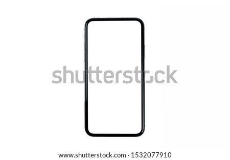 Black smartphone with blank screen isolated on white background. Mockup to showcasing mobile web-site design or screenshots your applications. #1532077910