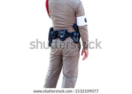 Thai police uniform, Police standing perform officiate isolated on white background, File contains with clipping path So easy to work.
