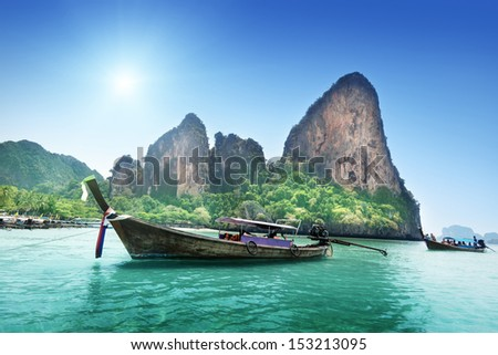 boats on Railay beach in Krabi Thailand  #153213095