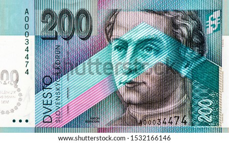 Anton Bernolak (1762-1813), an outstanding linguist and enlightened priest, Portrait from Slovakia 200 Korun 2000 Banknotes. An Old paper banknote, vintage retro. Famous ancient Banknotes. Collection. #1532166146