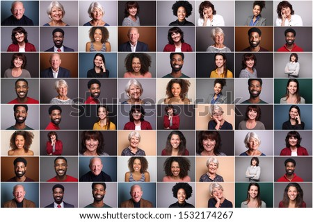 Group of 6 different people in front of a colored background
