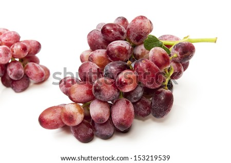 bunch of red grapes on a white background #153219539