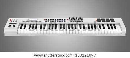 gray synthesizer isolated on gray background #153221099