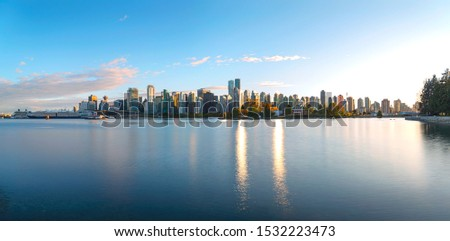 Beautiful Vancouver downtown long exposure panorama view from Stanley Park, Vancouver, Canada.