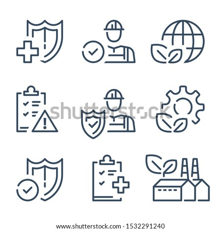 HSE concept, occupational safety and health administration, production factory and environment, medical insurance, labor preventive instructions, worker protection, vector line icon #1532291240
