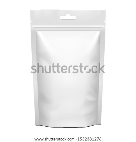 Mockup Stand Up Blank Bag For Coffee, Candy, Nuts, Spices, Self-Seal Zip Lock Foil Or Paper Food Pouch Snack Sachet Resealable Packaging. Illustration Isolated On White Background. Mock Up,  Template. #1532381276