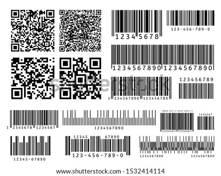Product barcodes. Industrial barcode, qr code and scan bar label. Inventory badge codes, supermarket scanning sign vector set. Identification tracking code, product ID tags illustrations collection