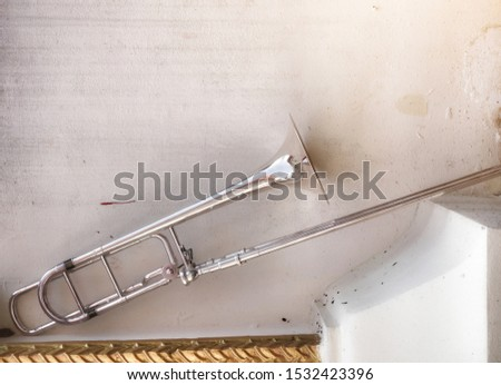 Trombone Musical Instrument Musical Instrument Trombone background  Vintage tone picture  Copy space #1532423396