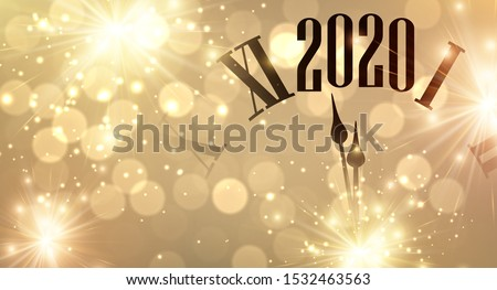 Gold shiny bokeh New Year 2020 card with clock and lights. Vector background.