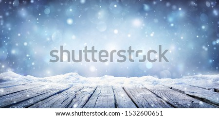 Winter Table - Snowy Plank With Snowfall In The Cold Sky  #1532600651