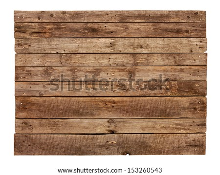 Old vintage planked wood sign board isolated on white background