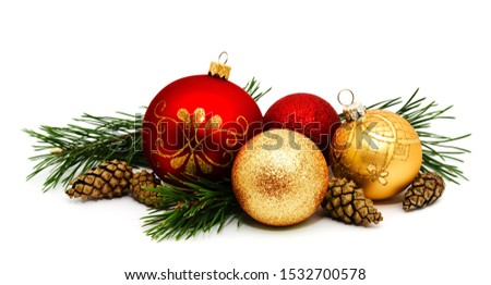 Christmas decoration golden yellow and red balls with fir cones and fir tree branches isolated on a white background  #1532700578