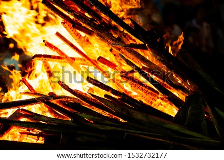 Bonfire that burns on a dark background, wood burning flame. #1532732177