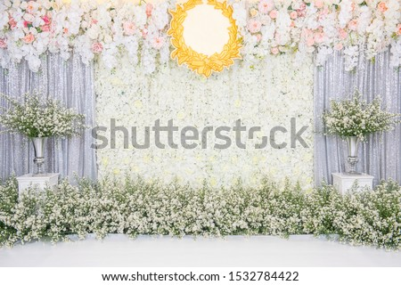 Beautiful wedding flower backdrop For taking pictures.Beautiful wedding flower backdrop For taking pictures. #1532784422