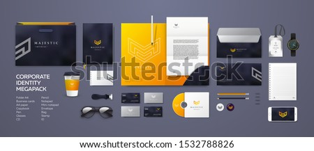 Corporate branding identity design. Stationery mockup vector megapack set. Template for industrial or technical company. Folder and A4 letter, visiting card and envelope. Triangular geometric logo. Royalty-Free Stock Photo #1532788826
