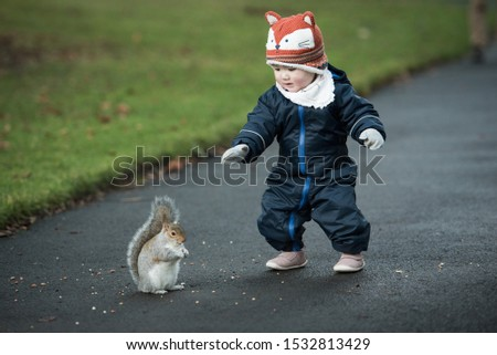 An Asian baby wearing fox hat, winter clothes and mittens walks towards a brown squirrel eating in Princes Street Gardens, Edinburgh, Scotland, UK