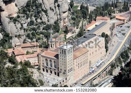 Aerial view of Santa Maria de Montserrat Monastery in Catalonia, Spain #153282080