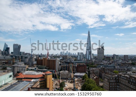 London skyline. Aerial view of Southwark on a nice summer day. Travel London. #1532950760