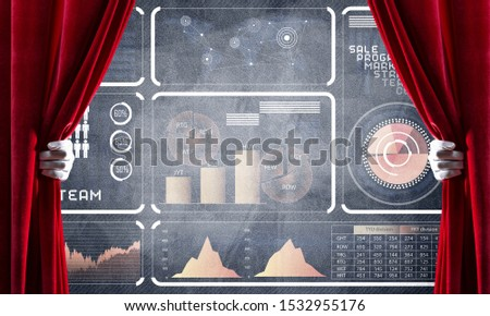 Hand opening red curtain and drawing business graphs and diagrams behind it #1532955176
